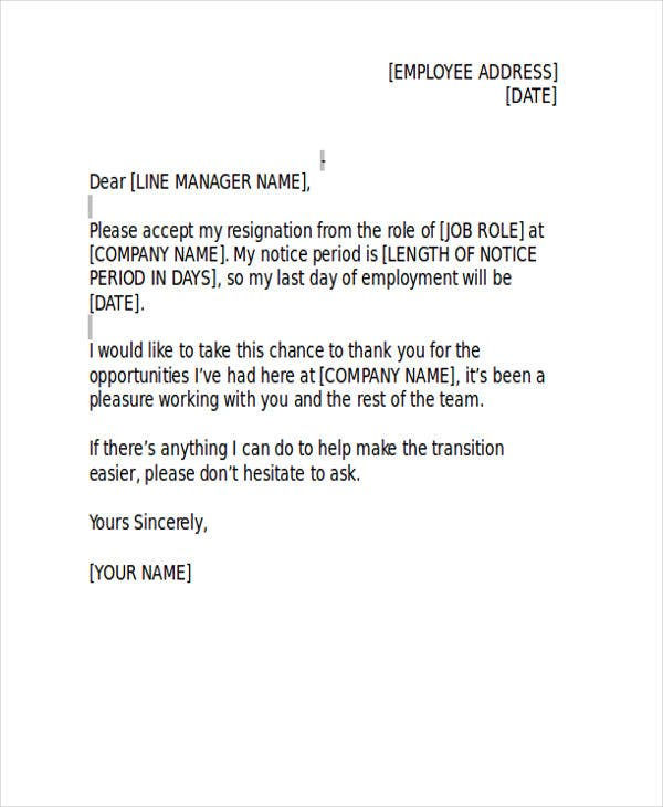 official business resignation letter