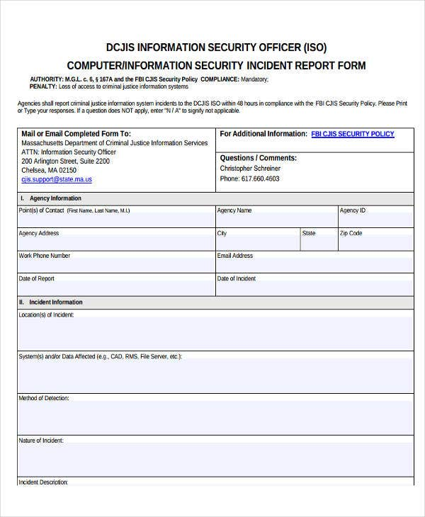 Incident Report Samples  Free  Premium Templates