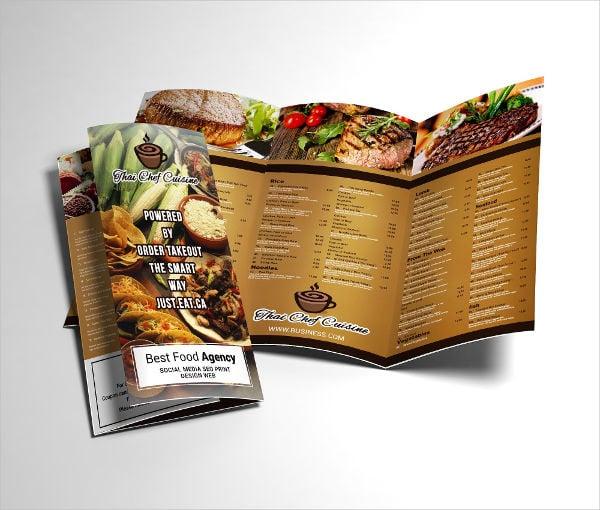 Tri Fold Restaurant Menu Brochure