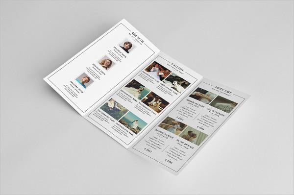 Tri Fold Wedding Photography Brochure