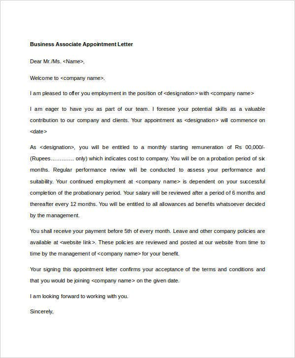 business associate appointment letter