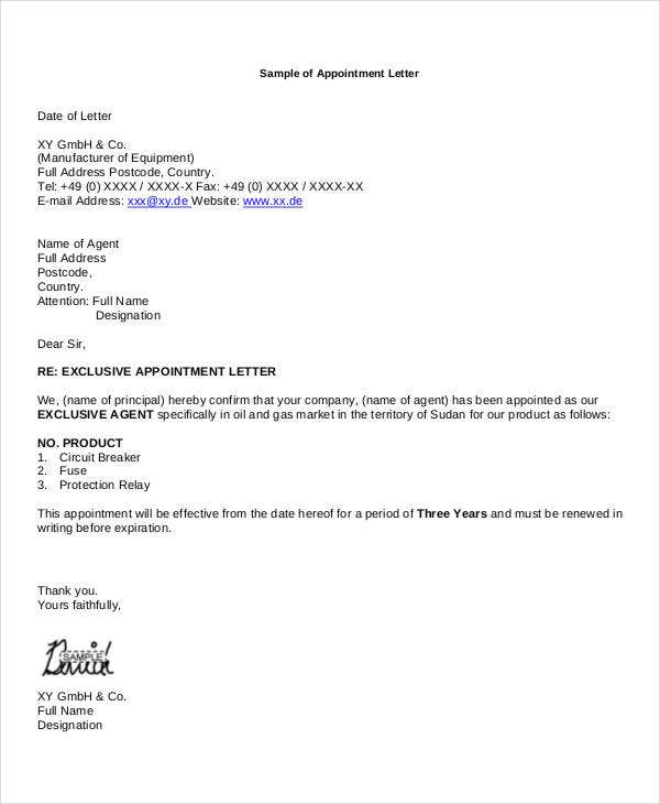 business representative appointment letter