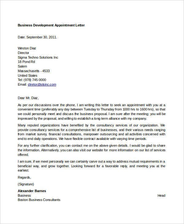 business development appointment letter
