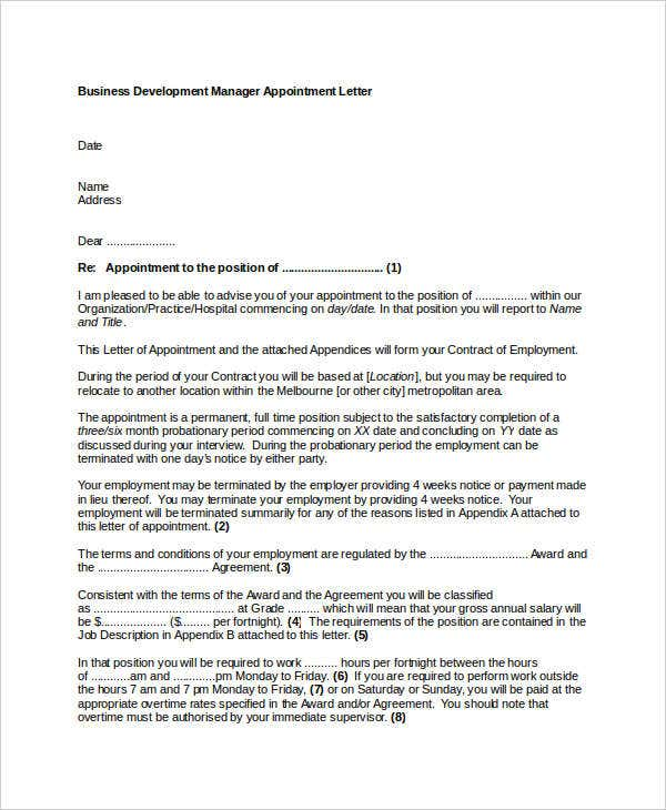business development manager appointment letter