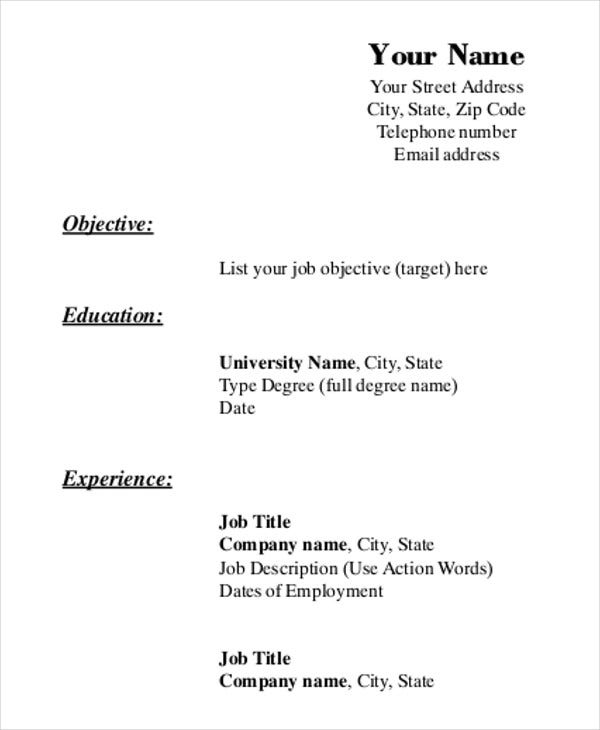 photo regarding Printable Blank Resume Form called Printable Resume Template - 35+ Absolutely free Phrase, PDF Information