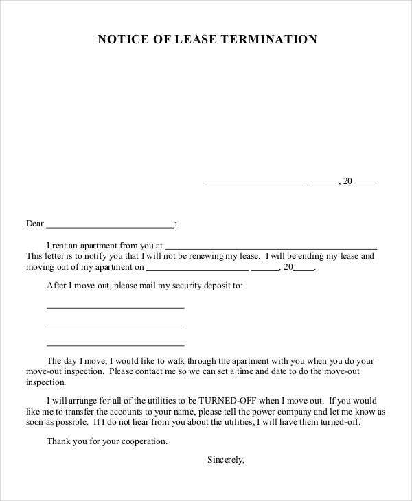 32 simple termination letter templates doc pdf ai for End of tenancy letter template from landlord
