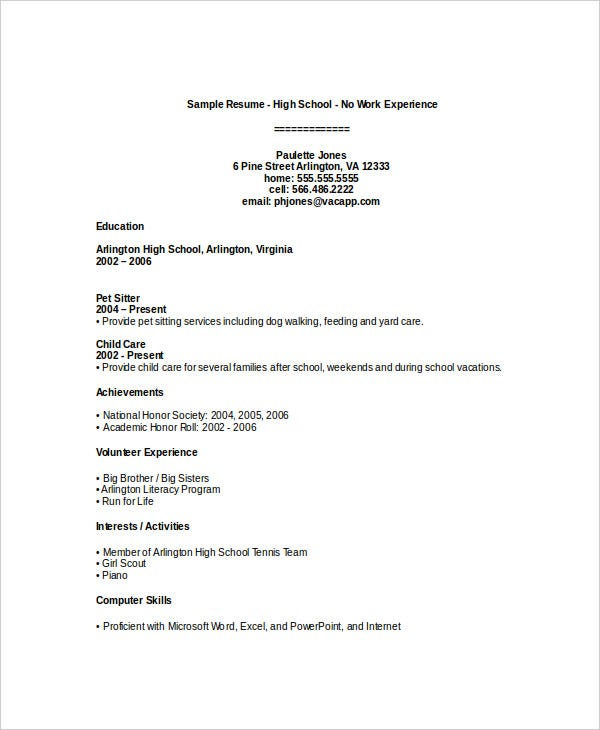 Resume Format For College Student With No Work Experience  Work Resume Format