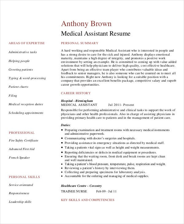 printable medical assistant resume template
