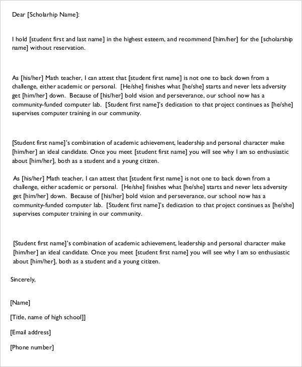sample letter of recommendations for scholarships
