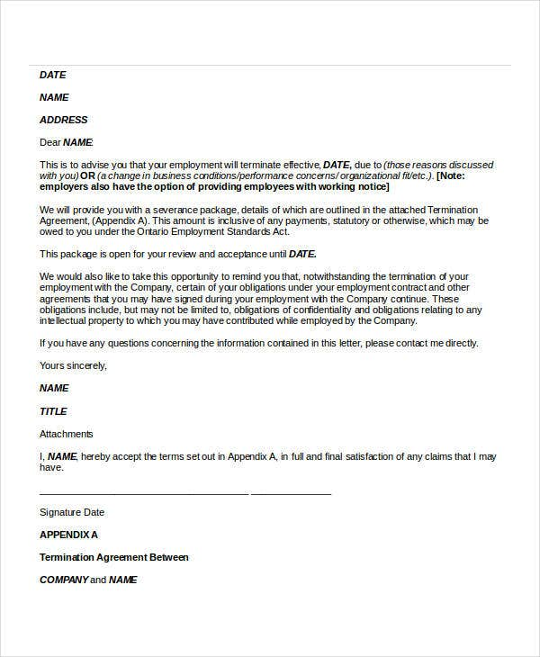 termination letter sample doc