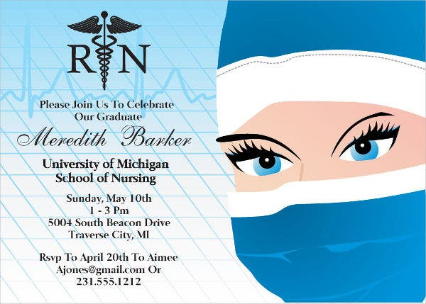 Sample graduation invitations free premium templates printable nursing graduation invitation filmwisefo