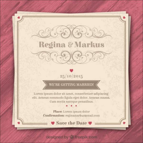 printable retro wedding invitation