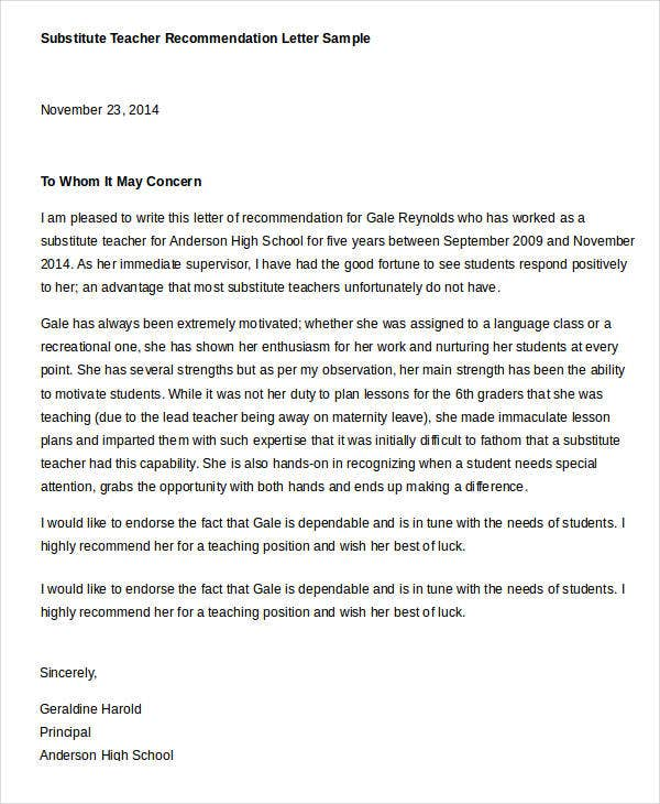 Letter of recommendation for substitute teachers akbaeenw letter of recommendation for substitute teachers spiritdancerdesigns Gallery