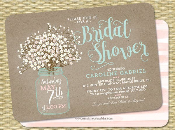 -Mason Jar Couples Bridal Shower Invitation