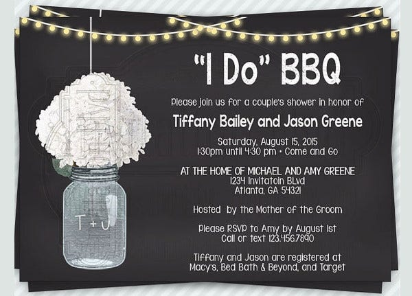 -Personalized Mason Jar Bridal Shower Invitation