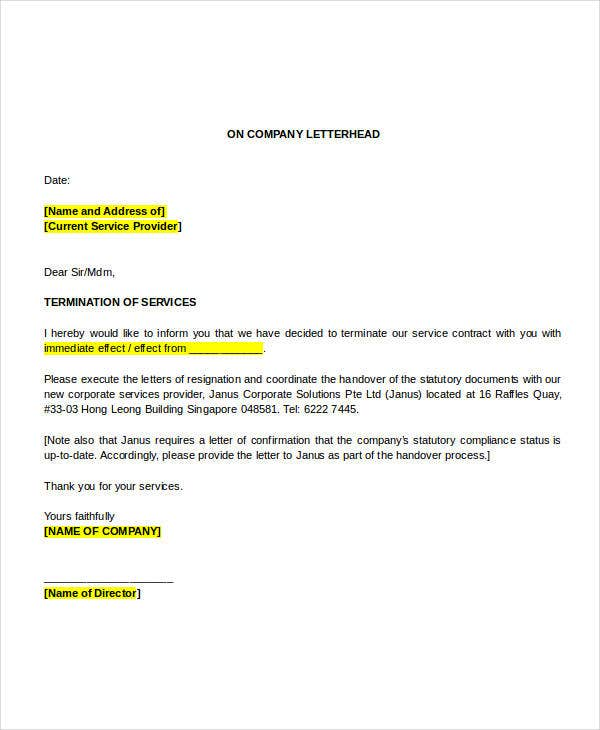 32 simple termination letter templates doc pdf ai free service termination letter sample spiritdancerdesigns