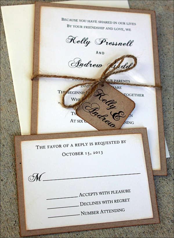 rustic handmade wedding invitation