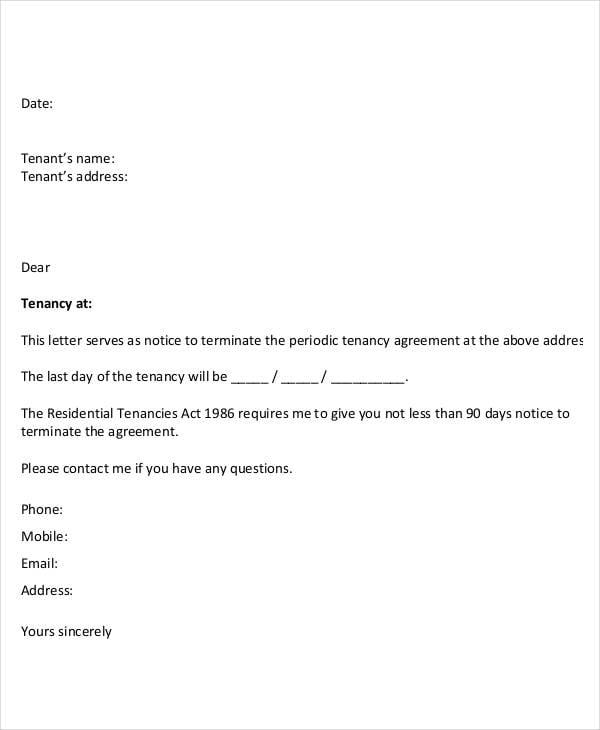 tenancy termination notice letter