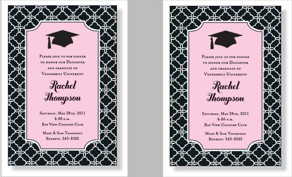 graduation invitation black style border