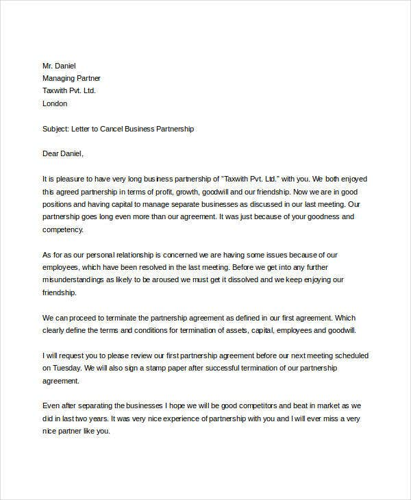 partnership contract termination letter