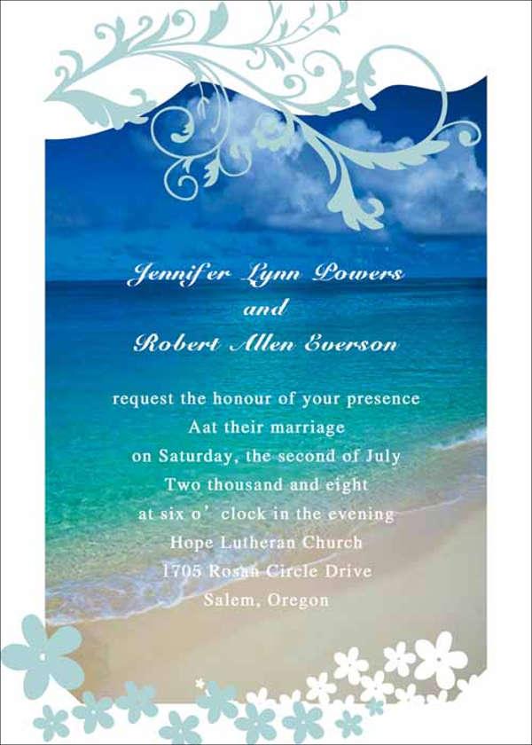 seashore watercolors wedding invitation