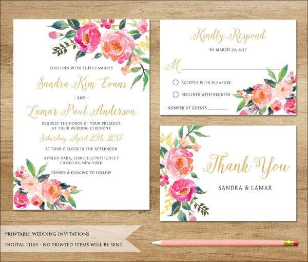 wedding invitations in pdf free premium templates With watercolor flower wedding invitations free