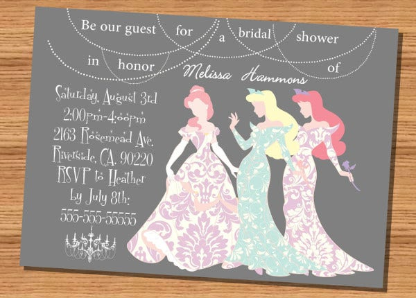 -Vintage Disney Princess Bridal Shower Invitation