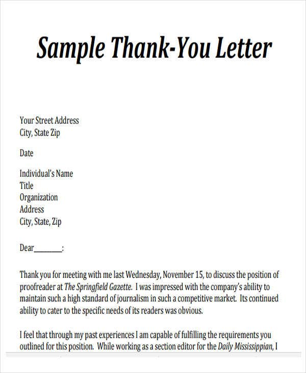 Business Partner Sample Thank You Letter After Business