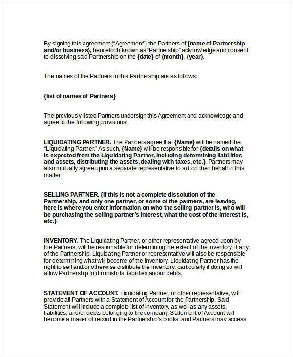 Simple Termination Letter Templates 40 Free Word PDF Documents – Simple Business Partnership Agreement