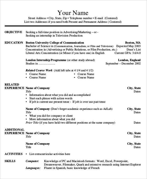 Free Printable Job Resume Template  Company Resume Template