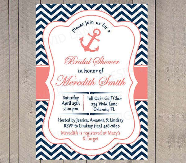-Nautical Vintage Bridal Shower Invitation