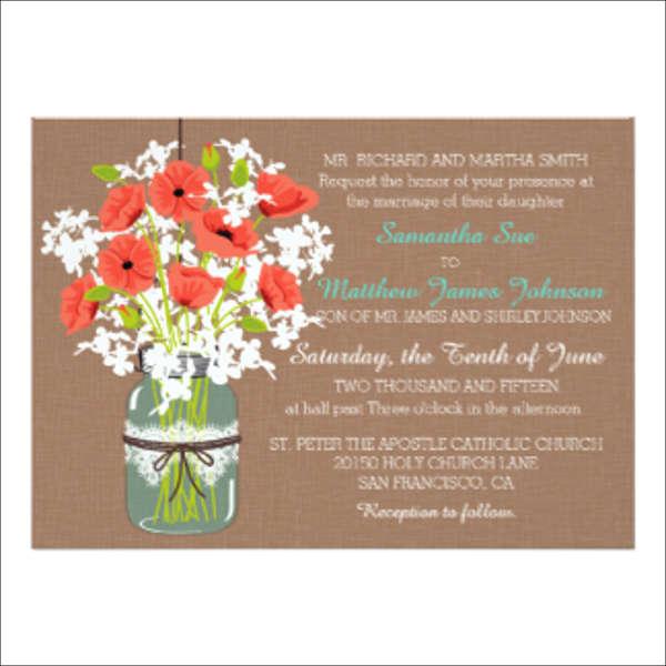 rustic bouquet wedding invitation