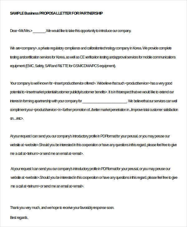 32 business letter template free premium templates business partnership proposal letter spiritdancerdesigns Image collections