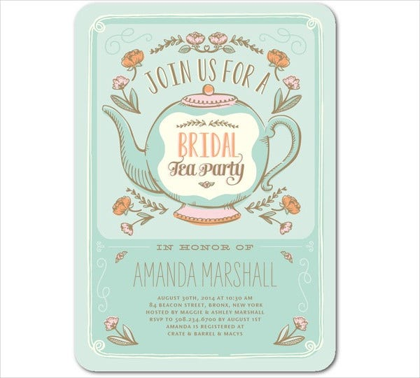 Printable bridal shower invitations free premium templates for Tea party menu template