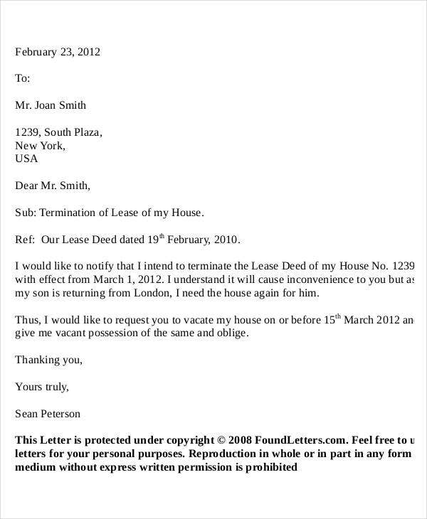 lease termination letter format