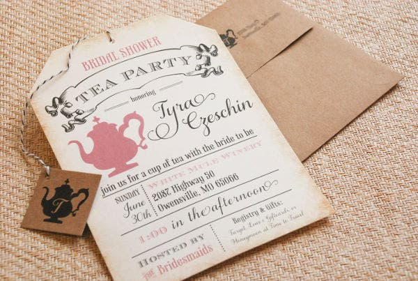 -Unique Tea Party Bridal Shower Invitation