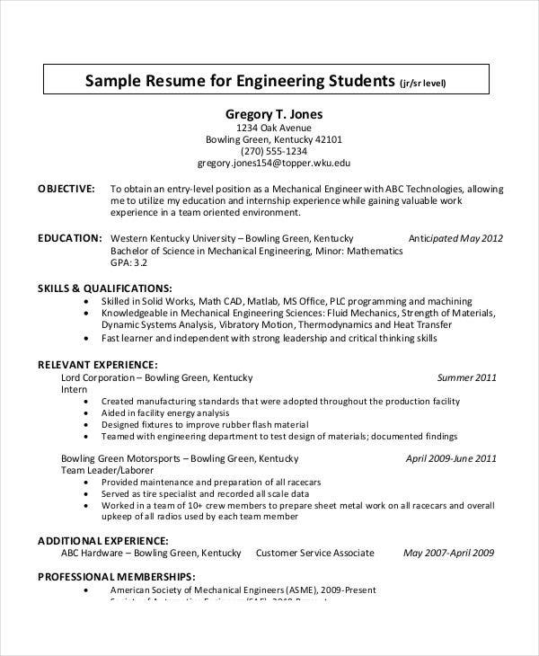 College Student Resume Format In PDF