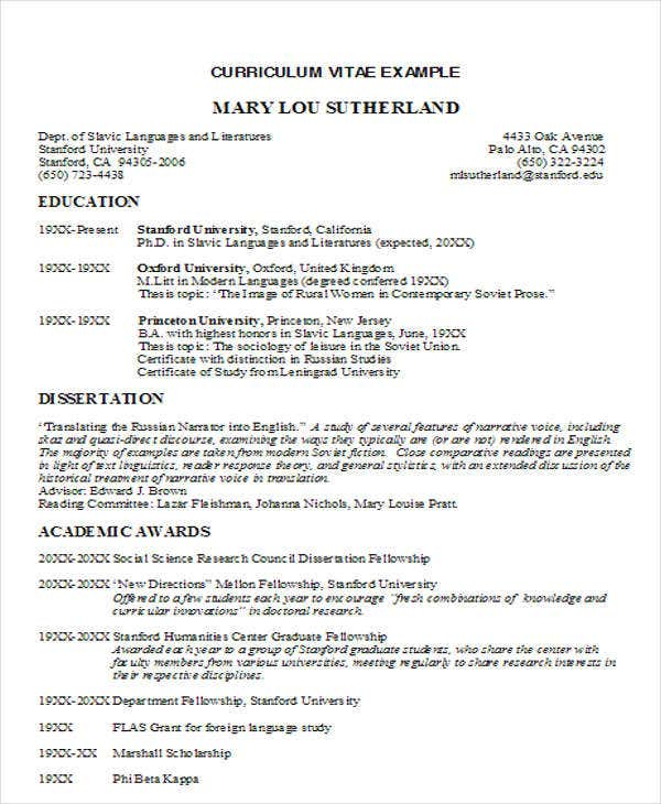 Formal Business Resume