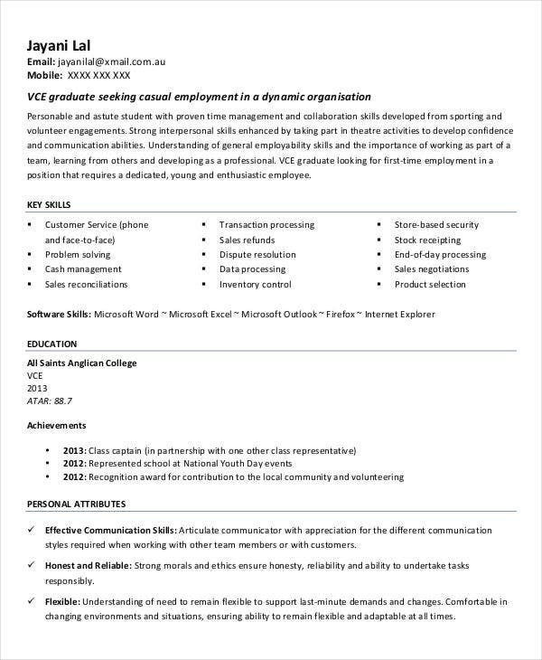 Objective In Resume For High School Graduate Student First Resume
