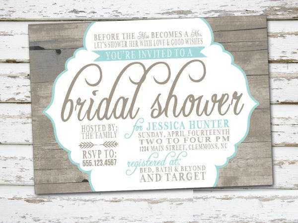 classy country bridal shower invitation