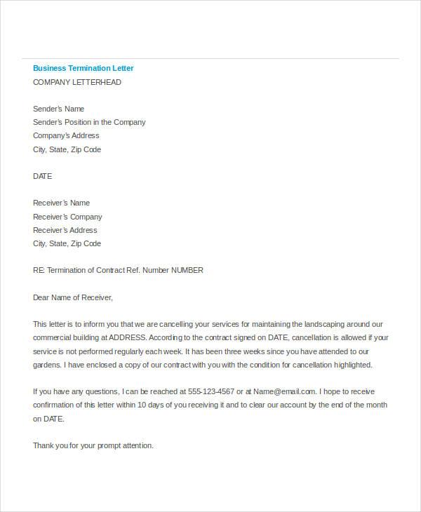 simple termination letter templates