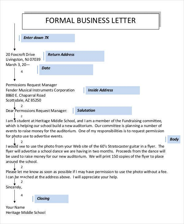 free formal business letter template