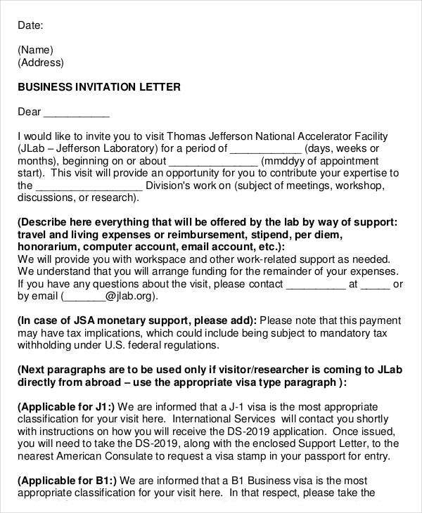 Formal Business Invitation Letter