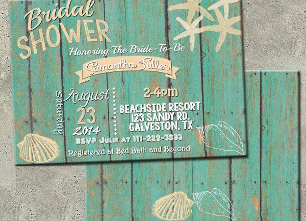 -Unique Beach Bridal Shower Invitation