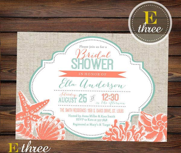 beach wedding bridal shower invitation