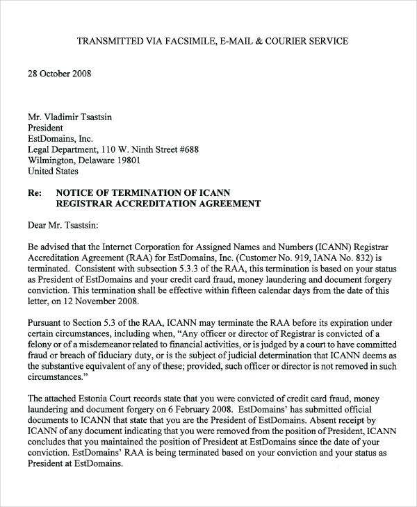 official notice of termination letter