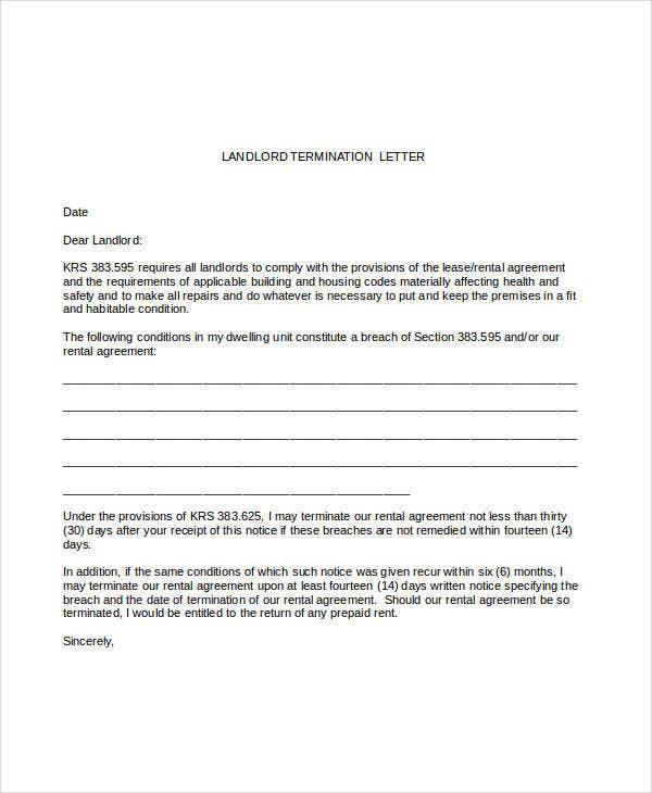 sample landlord termination letter