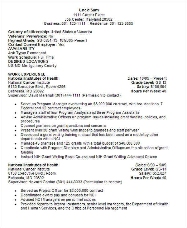 government employee resume format