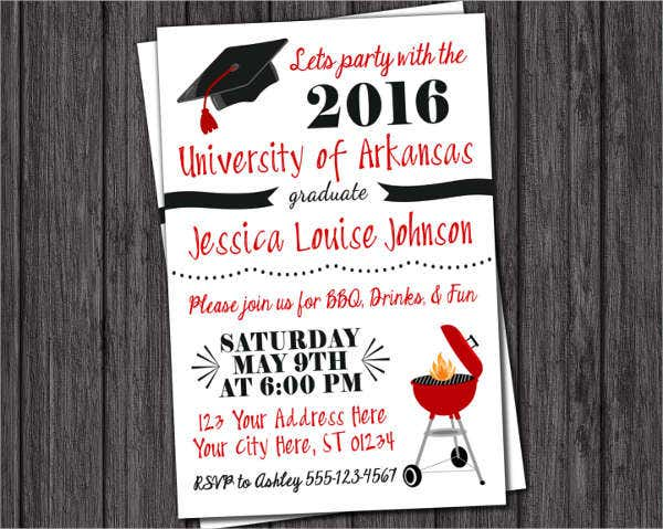 vintage graduation bbq invitation