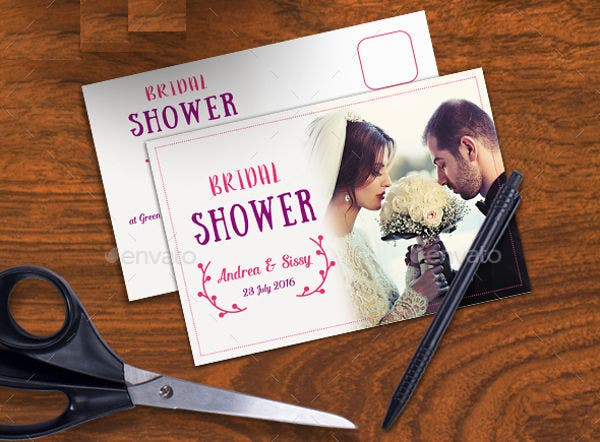 -Classic Post Card Bridal Shower Invitation